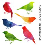 Birds Silhouette. Watercolor...