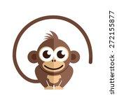 little baby monkey on the white ... | Shutterstock .eps vector #272155877