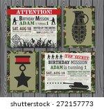 camo army birthday invitation    Shutterstock .eps vector #272157773
