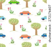 seamless pattern with cars and... | Shutterstock .eps vector #272176607