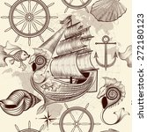 antique pattern with ship ...   Shutterstock .eps vector #272180123