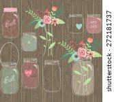 wedding mason jar floral... | Shutterstock .eps vector #272181737