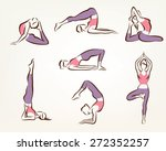 set of yoga and pilates poses   ... | Shutterstock .eps vector #272352257