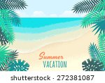palm leaves  tropical beach ... | Shutterstock .eps vector #272381087