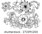Floral Doodles. Black And Whit...