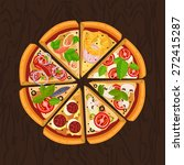 round hot delicious tasty pizza ... | Shutterstock .eps vector #272415287