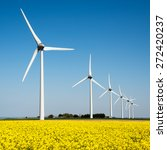 Wind Turbine In A Yellow Flowe...