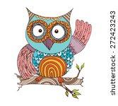 owl doodle vector   Shutterstock .eps vector #272423243