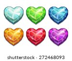 set of crystal hearts  colorful ...