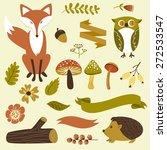 autumn forest  woodland animals ... | Shutterstock .eps vector #272533547