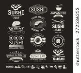 vector sushi logotypes set.