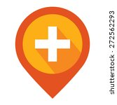 orange map pointer icon with... | Shutterstock . vector #272562293