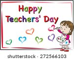 happy teacher's day card | Shutterstock .eps vector #272566103