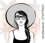 beautiful girl with sunglasses... | Shutterstock .eps vector #272579027