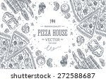 pizza house top view frame... | Shutterstock .eps vector #272588687