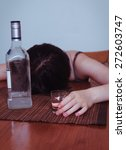 Small photo of woman with alcohol addiction concept,shallow DOF
