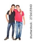 happy teenage brothers hugging... | Shutterstock . vector #272615543