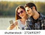 selfie with smartphone  happy...   Shutterstock . vector #272693297