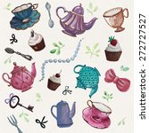 teatime  tea pot  tea cup ... | Shutterstock .eps vector #272727527