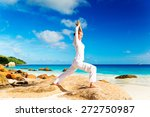 young woman practicing yoga on... | Shutterstock . vector #272750987