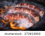 grilled sausages on the grill ...