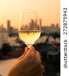 woman enjoying a glass of wine...   Shutterstock . vector #272875943