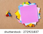 colorful memo pads on the cork...   Shutterstock . vector #272921837