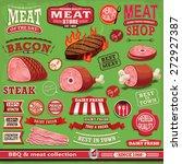 vintage bbq meat poster design... | Shutterstock .eps vector #272927387
