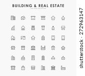 36 building and real estate line icons | Shutterstock vector #272963147