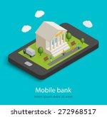 flat isometric mobile banking... | Shutterstock .eps vector #272968517