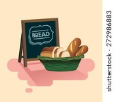 bread in basket and bakery sign ... | Shutterstock .eps vector #272986883