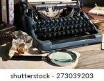 retro typewriter on wooden... | Shutterstock . vector #273039203