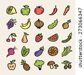 25 colored doodle food icons.... | Shutterstock .eps vector #273066347