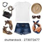 Set of feminine tourist summer clothing isolated on white