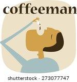 man drinking coffee    Shutterstock .eps vector #273077747