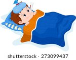 sick kid lying in bed | Shutterstock .eps vector #273099437
