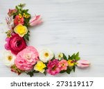 Stock photo flowers frame on white wooden background top view with copy space 273119117