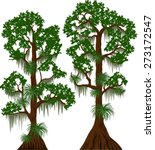 vector cypress trees with... | Shutterstock .eps vector #273172547