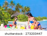 mother and two kids playing... | Shutterstock . vector #273203447
