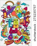 cute crazy doodles life vector... | Shutterstock .eps vector #273235757