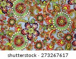 macro bright floral pattern on... | Shutterstock . vector #273267617