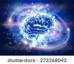 technology blue concept   brain ... | Shutterstock . vector #273268043