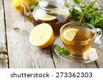 cup of tea with mint and lemon... | Shutterstock . vector #273362303
