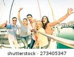 best friends using selfie stick ... | Shutterstock . vector #273405347
