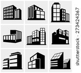 buildings icons set on gray | Shutterstock .eps vector #273424367