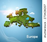 realistic 3d map of europe | Shutterstock . vector #273428207