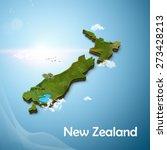 realistic 3d map of new zealand | Shutterstock . vector #273428213