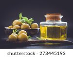 olive oil and olive  on the...   Shutterstock . vector #273445193