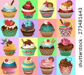 cupcake background vector | Shutterstock .eps vector #273481643