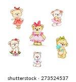 set of cute teddy bear girls | Shutterstock . vector #273524537